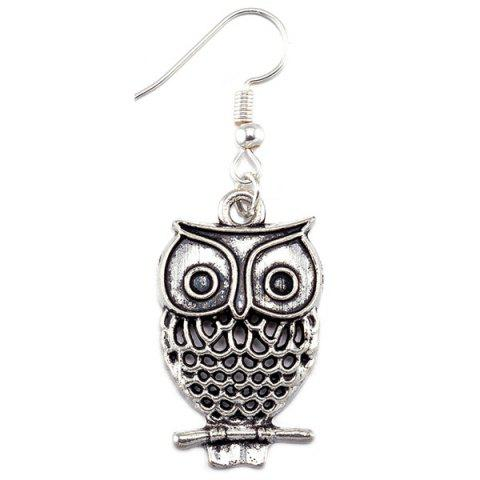 Discount Owl Pendant Necklace and Earrings - SILVER  Mobile
