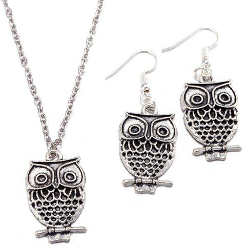Store Owl Pendant Necklace and Earrings SILVER