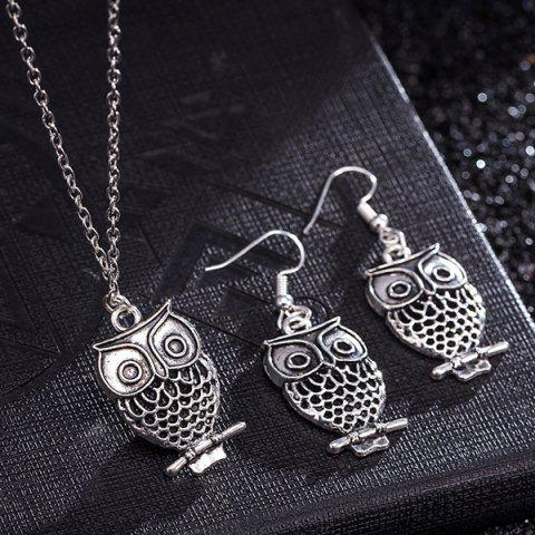 Sale Owl Pendant Necklace and Earrings - SILVER  Mobile