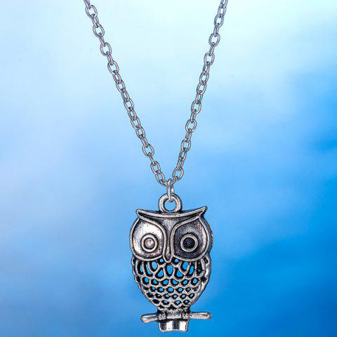 Online Owl Pendant Necklace and Earrings - SILVER  Mobile