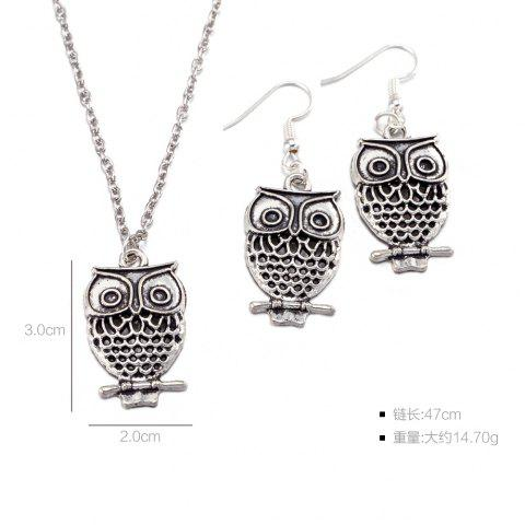 Affordable Owl Pendant Necklace and Earrings - SILVER  Mobile