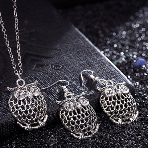 Online Owl Necklace and Drop Earrings - SILVER  Mobile