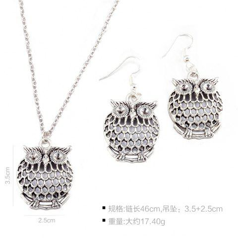 New Owl Necklace and Drop Earrings - SILVER  Mobile