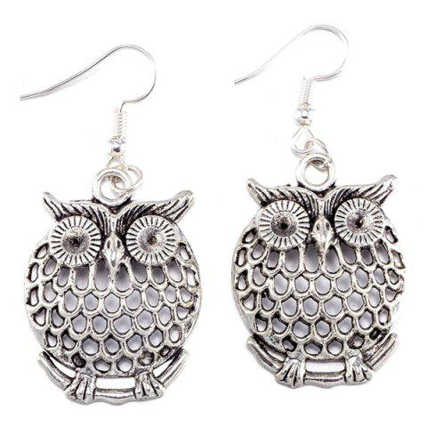 Affordable Owl Necklace and Drop Earrings - SILVER  Mobile