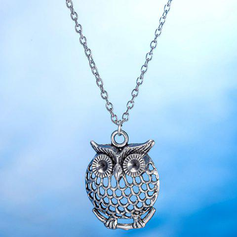 Discount Owl Necklace and Drop Earrings - SILVER  Mobile