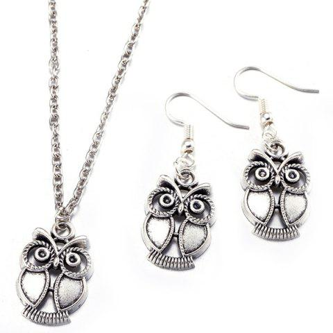 Sale Owl Necklace with Earrings SILVER