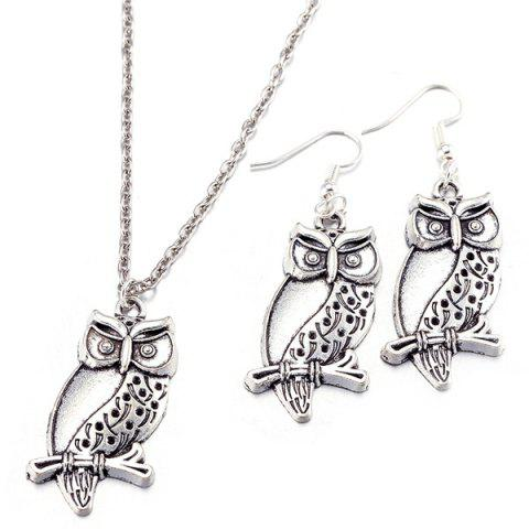 Online Branch Owl Necklace and Earrings SILVER