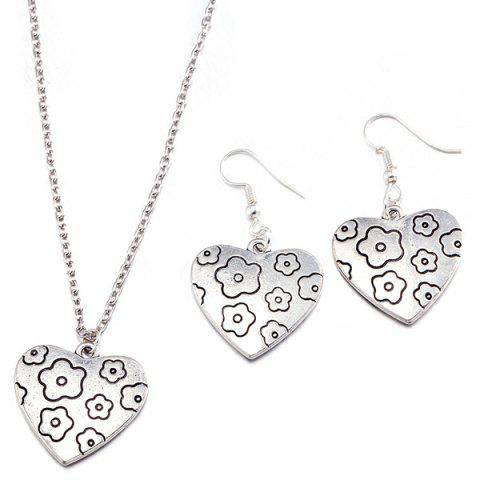 Discount Engraved Flower Heart Necklace and Earrings SILVER