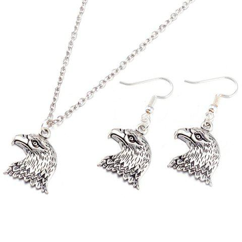 Affordable Eagle Head Alloy Necklace and Earrings - SILVER  Mobile