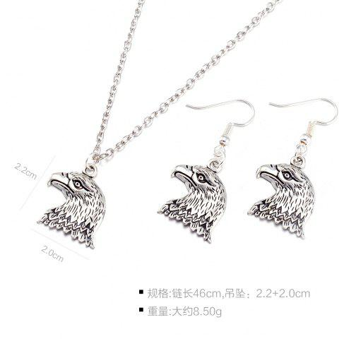 Discount Eagle Head Alloy Necklace and Earrings - SILVER  Mobile