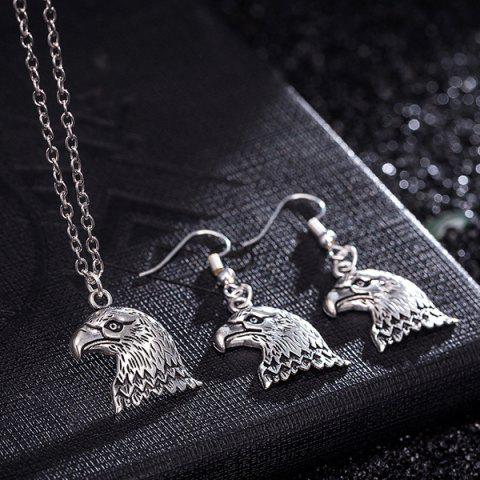 Store Eagle Head Alloy Necklace and Earrings - SILVER  Mobile