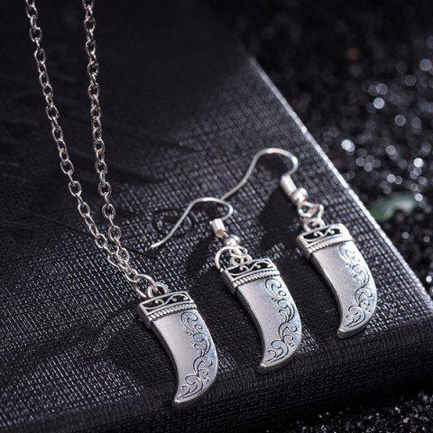 Buy Knife Pendant Necklace and Earrings - SILVER  Mobile