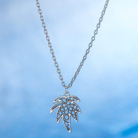 Affordable Leaf Pendant Necklace and Earrings - SILVER  Mobile