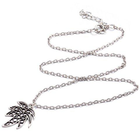Discount Leaf Pendant Necklace and Earrings - SILVER  Mobile