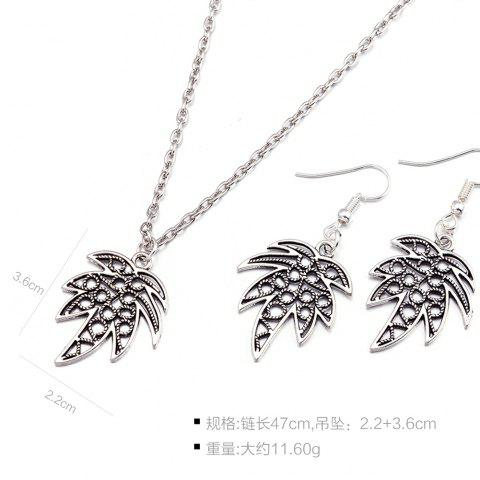 Store Leaf Pendant Necklace and Earrings - SILVER  Mobile