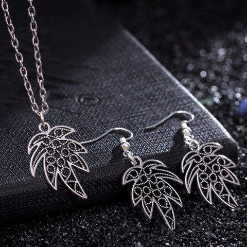 Chic Leaf Pendant Necklace and Earrings - SILVER  Mobile