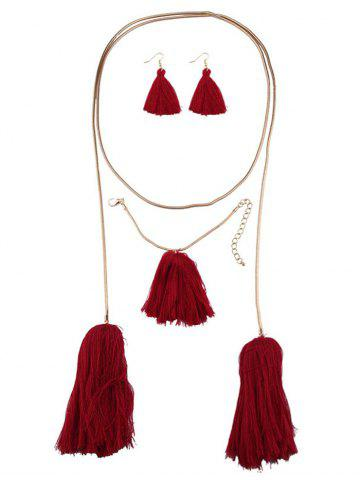 Shop Tassel Necklace Earrings and Bracelet - RED  Mobile