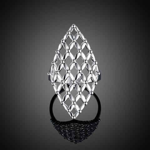 Latest Hollow Out Geometric Ring - 8 SILVER Mobile