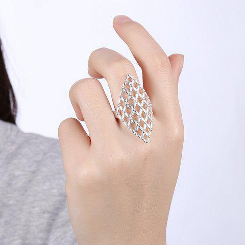 Buy Hollow Out Geometric Ring - 8 SILVER Mobile