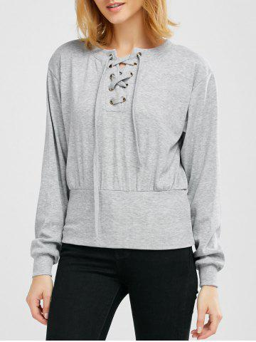 Online Ribbed Lace Up Knitwear