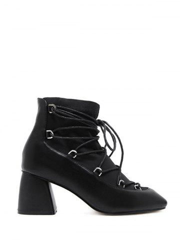 Unique Lace Up Square Toe Chunky Heel Ankle Boots