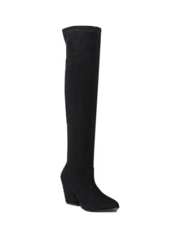 Shop Chunky Heel Pointed Toe Thigh Boots BLACK 39