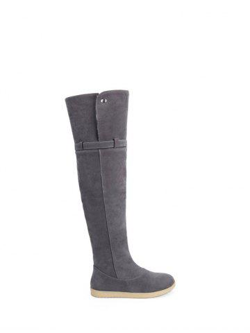 Outfits Buckle Strap Thigh High Flat Heel Boots