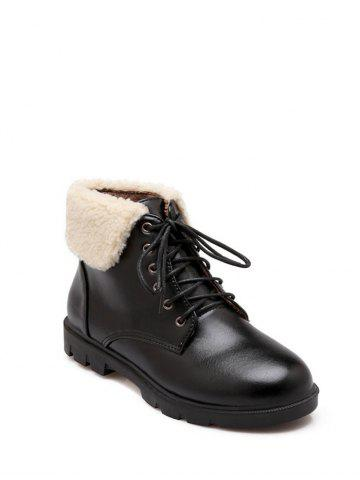 Store Faux Shearling Panel Lace Up Ankle Boots