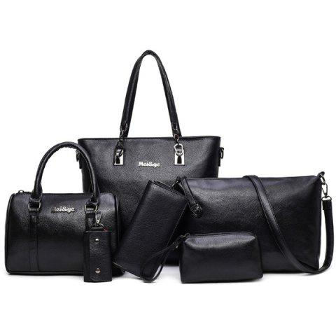 Affordable Zipper Tote Handbag 6 Pc Set BLACK
