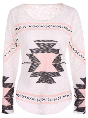 Fashion Geometry Drop Shoulder Christmas Tee SHALLOW PINK S