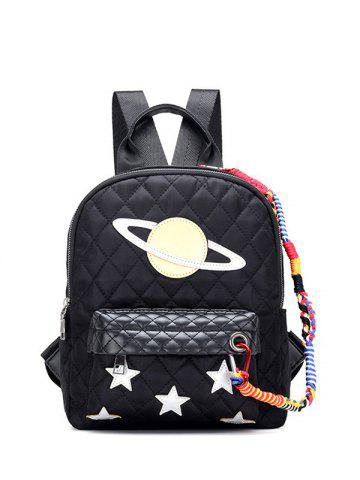 Store Stitching Argyle Star Pattern Backpack BLACK