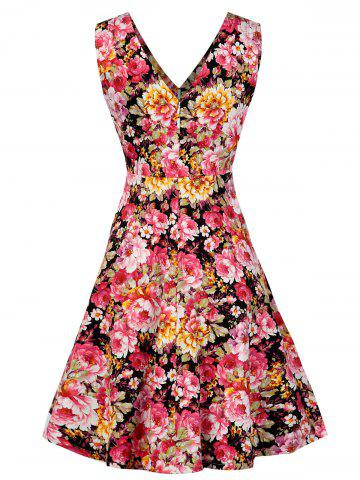 Store V Neck Floral Pattern Vintage Dress - S FLORAL Mobile