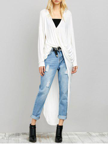Cheap Twisted Drape Front High Low Top