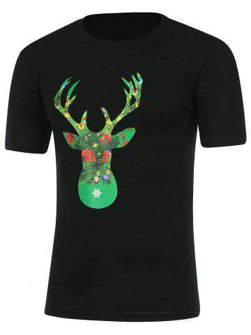 Best Short Sleeve Graphic Christmas T-Shirt BLACK 3XL