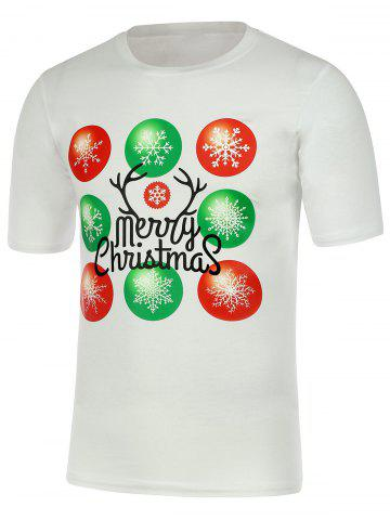 New Snowflake Print Short Sleeve Christmas T-Shirt - 3XL WHITE Mobile