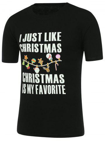 New Letter Print Short Sleeve Christmas T-Shirt - XL BLACK Mobile