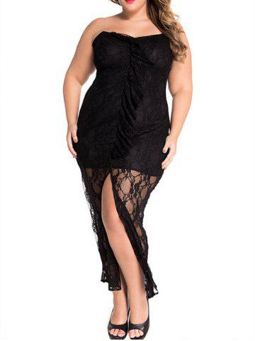 Shops Plus Size Strapless High Slit Maxi Dress