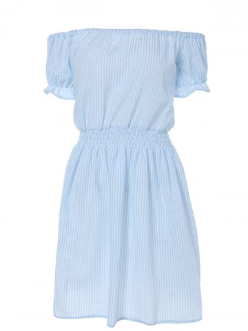 Buy Casual Off Shoulder Striped A Line Dress LIGHT BLUE XL