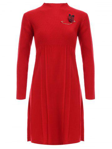 Buy Ribbed Long Sleeve Sweater Dress With Brooch