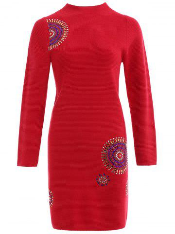 Trendy Beaded Mock Neck Knit Bodycon Dress