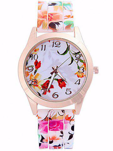 New Flower Printed Dial Plate Silicone Watch