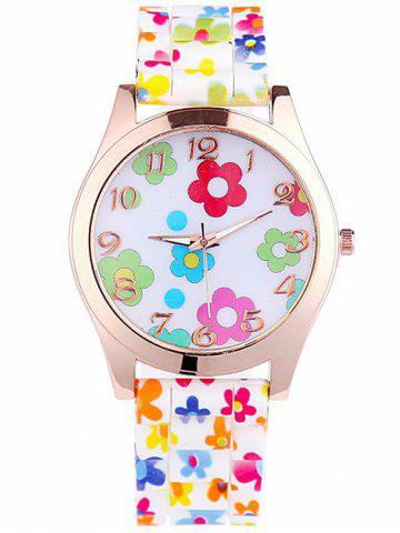 Trendy Floral Printed Silicone Watch