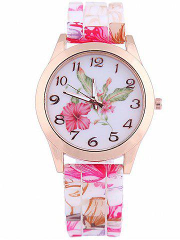 Leaf Floral Printed Silicone Watch - PINK