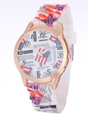 Chic American Flag Printed Silicone Watch WHITE