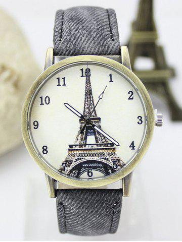 Affordable Eiffel Tower Artificial Leather Watch GRAY