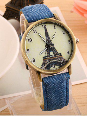 Store Eiffel Tower Artificial Leather Watch BLUE