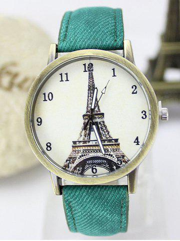 Eiffel Tower Artificial Leather Watch - GREEN