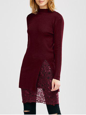 High Neck Slit Lace Insert Jumper Dress - Dark Red - One Size