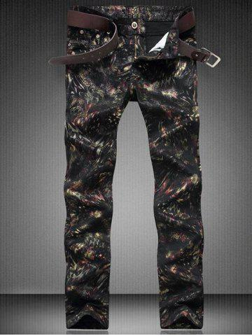 Discount Zip Fly Straight Leg Printed Jeans BLACK 30