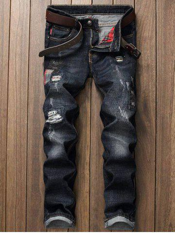 Fashion Distressed Zip Fly Applique Jeans